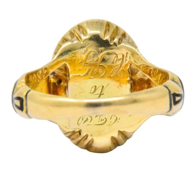 Victorian Diamond Cross 14 Karat Gold Enamel Mourning Ring For Sale 1