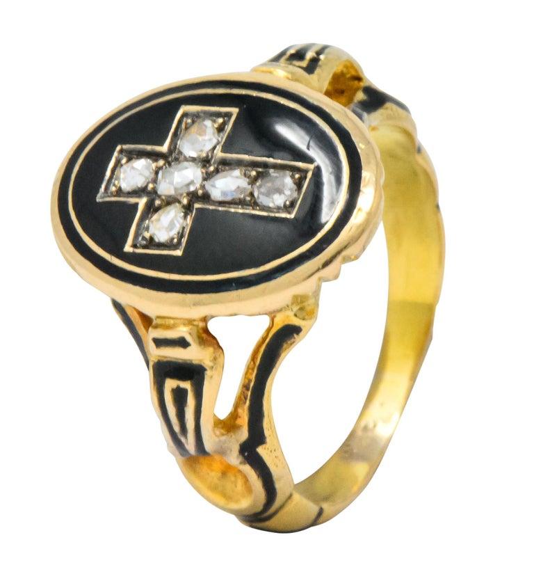 Victorian Diamond Cross 14 Karat Gold Enamel Mourning Ring For Sale 3