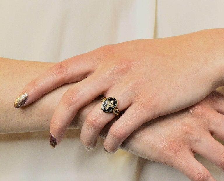 Victorian Diamond Cross 14 Karat Gold Enamel Mourning Ring For Sale 4