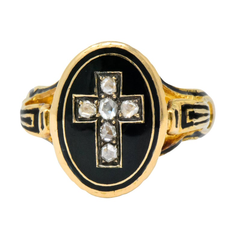 Victorian Diamond Cross 14 Karat Gold Enamel Mourning Ring For Sale