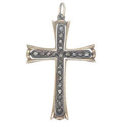 Victorian Diamond Cross Gold Pendant