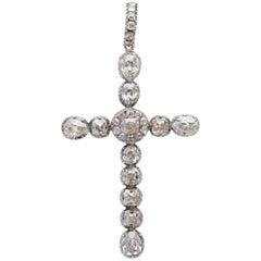 Victorian Diamond Cross Pendant 6.25 Carat