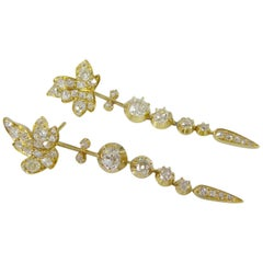 "Victorian Diamond ""Day and Night"" Earrings in Yellow Gold"