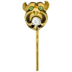 Victorian Diamond Demantoid Garnet 14 Karat Gargoyle Stickpin