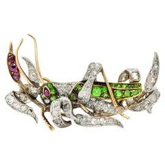 Victorian Diamond Demantoid Garnet Platinum 14 Karat Gold Grasshopper Brooch