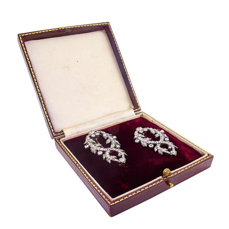 Victorian Diamond Double Clip Brooches, circa 1800s In Good Condition For Sale In London, GB