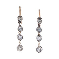 Victorian Diamond Drop Silver Gold Earrings
