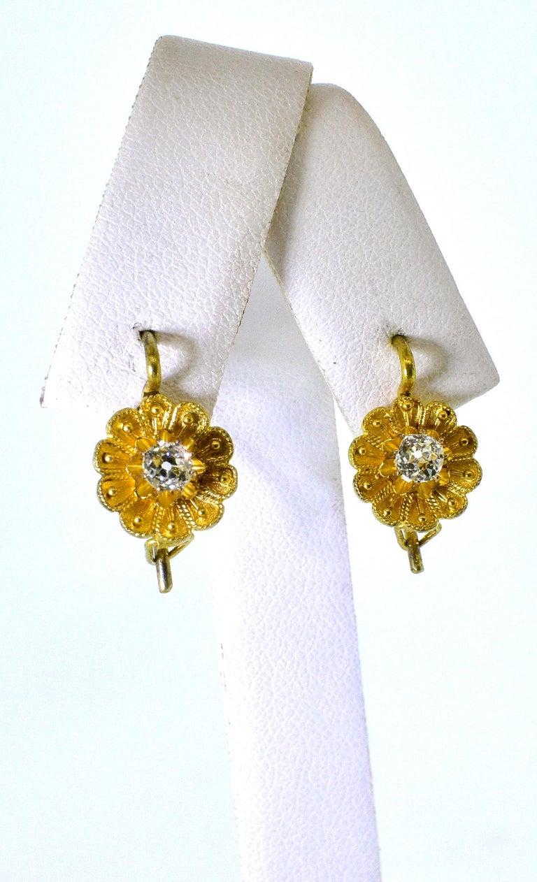 Women's or Men's Victorian Diamond Earrings, circa 1895 For Sale