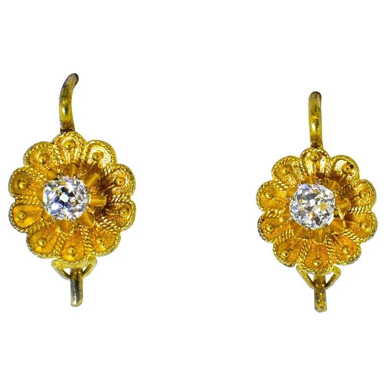 Victorian Diamond Earrings, circa 1895 For Sale