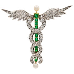 Victorian Diamond, Emerald and Pearl Caduceus Brooch