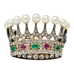 Victorian Diamond Emerald Ruby Pearl Silver-Topped 14 Karat Gold Crown Brooch