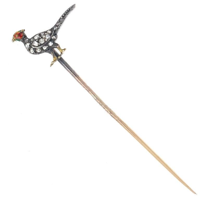 Victorian Diamond Enamel Gold Bird Stickpin In Excellent Condition For Sale In Beverly Hills, CA