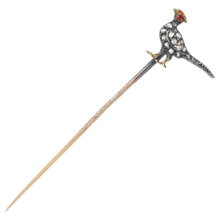 Victorian Diamond Enamel Gold Bird Stickpin For Sale
