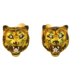 Victorian Diamond Enameled Tiger's Face Cufflinks