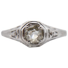 Victorian Diamond Engagement .30  Carat 14K Gold Old European Cut Filigree Ring
