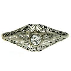 Victorian Diamond Filigree Gold Engagement Ring