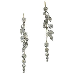 Victorian Diamond Floral Dangle Earrings