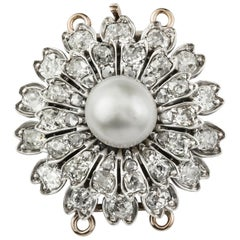 Victorian Diamond Flower Head Clasp