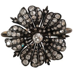 Victorian Diamond Flower mounted in Gold Bangle Bracelet