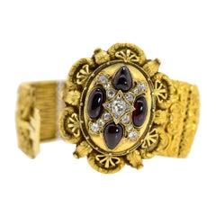 Victorian Diamond Garnet Gold Bracelet