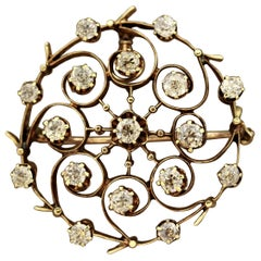 Victorian Diamond Gold Circle Brooch
