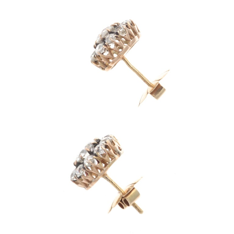 Victorian Diamond Gold Cluster Earrings In Excellent Condition In Beverly Hills, CA