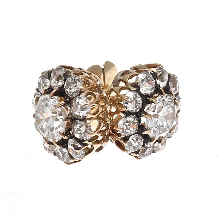 Women's Victorian Diamond Gold Cluster Earrings