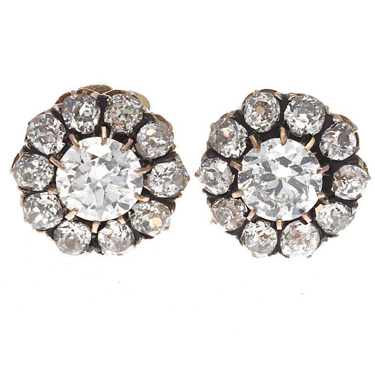 Victorian Diamond Gold Cluster Earrings 1