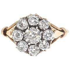 Victorian Diamond Gold Cluster Engagement Ring