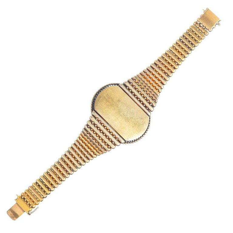 Victorian Diamond Gold Locket Bracelet In Good Condition For Sale In Carmel-by-the-Sea, CA