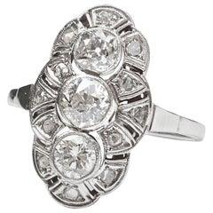 Edwardian Diamond White Gold Navette Ring