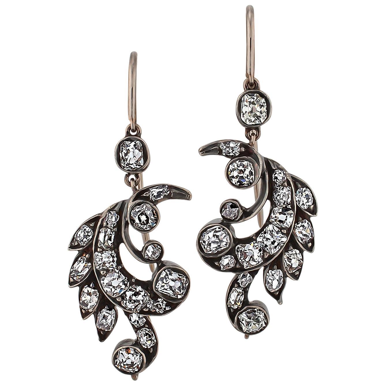 Victorian Diamond Gold Silver Leaf Drop Earrings