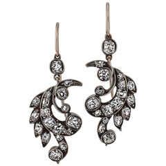 Victorian Diamond Gold Silver Leaf Drop Earrings
