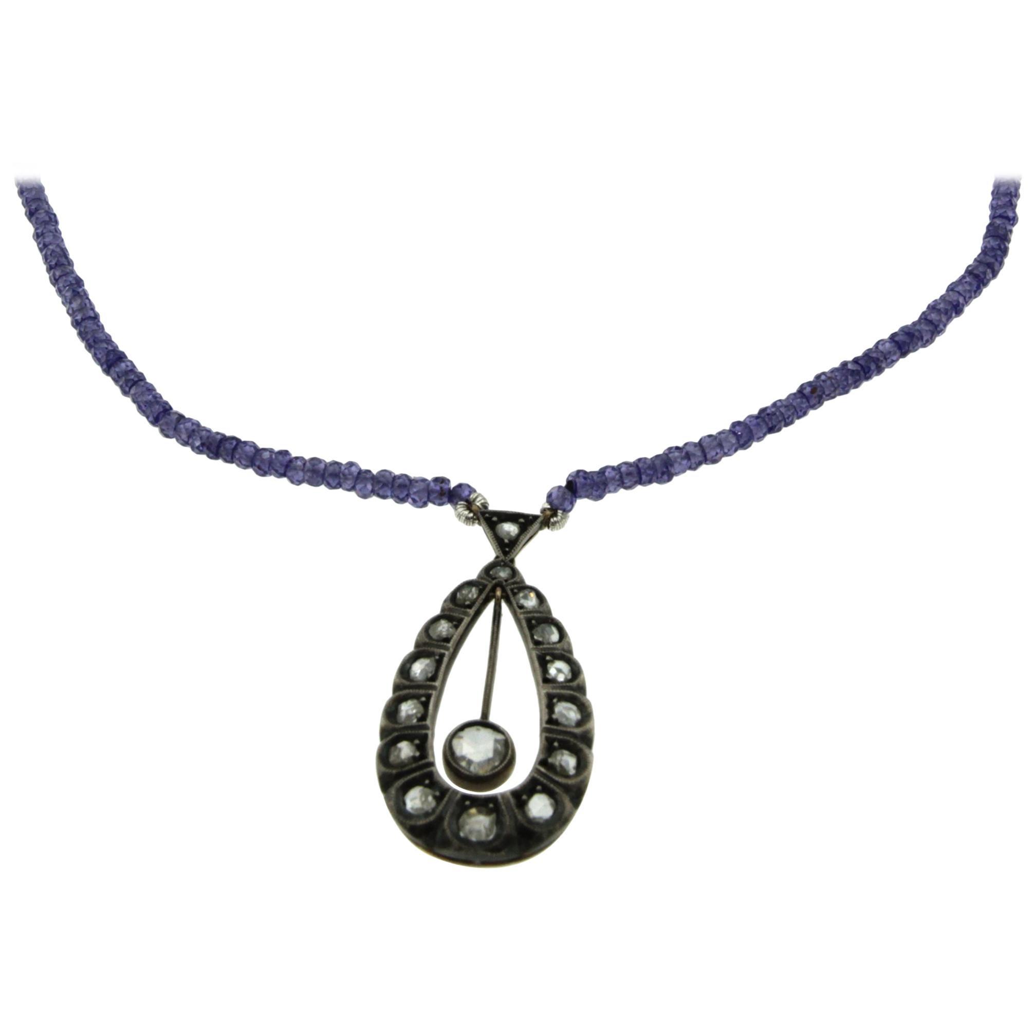 Victorian Diamond Gold Silver Pendant Amethyst Necklace