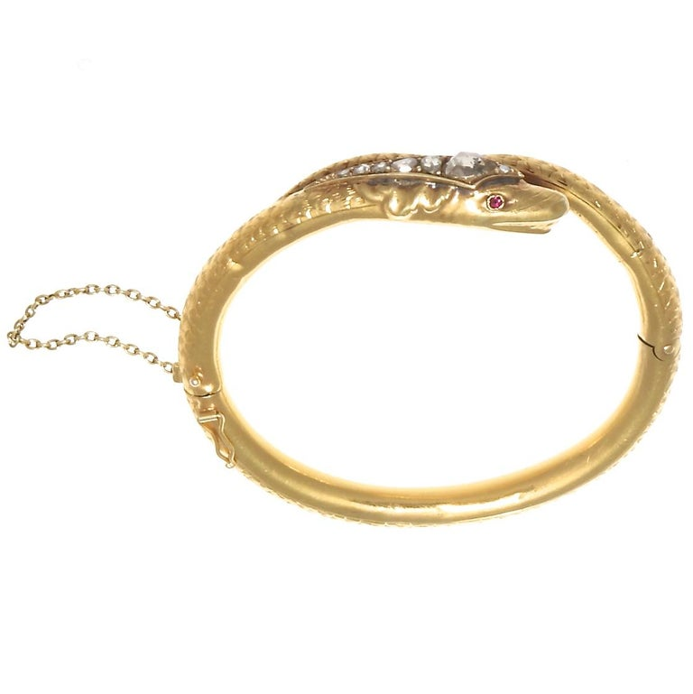 Rose Cut Victorian Diamond Gold Snake Bangle For Sale