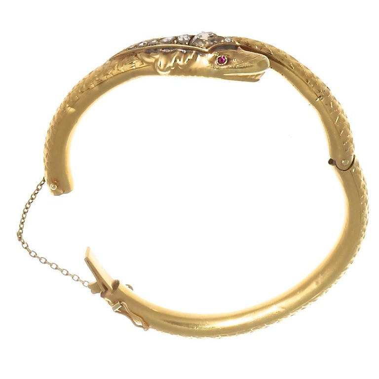 Victorian Diamond Gold Snake Bangle In Excellent Condition For Sale In Beverly Hills, CA