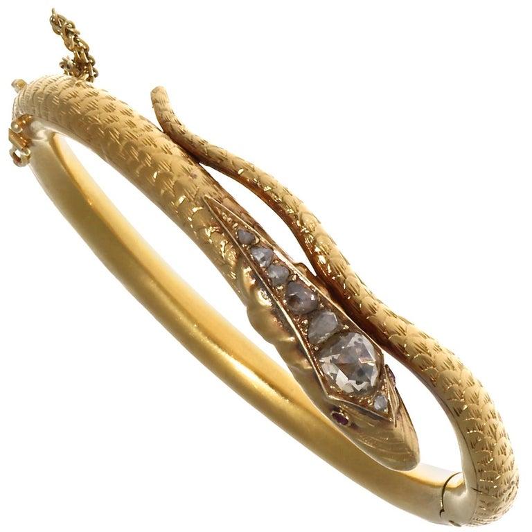 Victorian Diamond Gold Snake Bangle For Sale