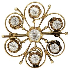 Victorian Diamond Gold Star Pin Brooch