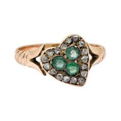 Victorian Diamond & Green Paste 14 Karat Rose Gold Heart Ring