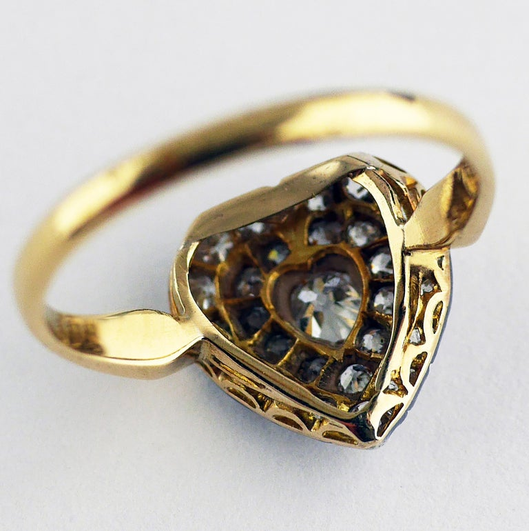 Victorian Diamond Heart Ring, circa 1870 For Sale 6