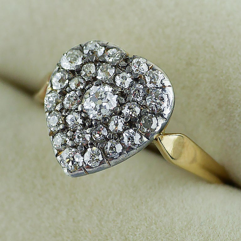 Old European Cut Victorian Diamond Heart Ring, circa 1870 For Sale