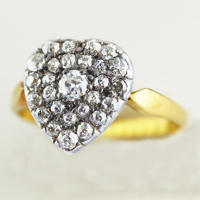 Women's Victorian Diamond Heart Ring, circa 1870 For Sale