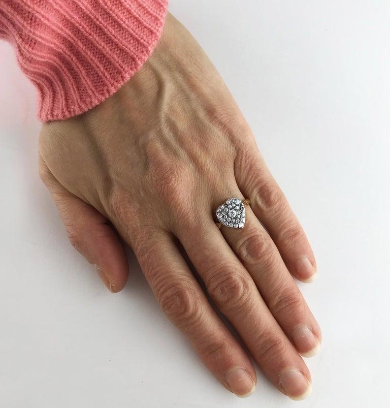 Victorian Diamond Heart Ring, circa 1870 For Sale 2