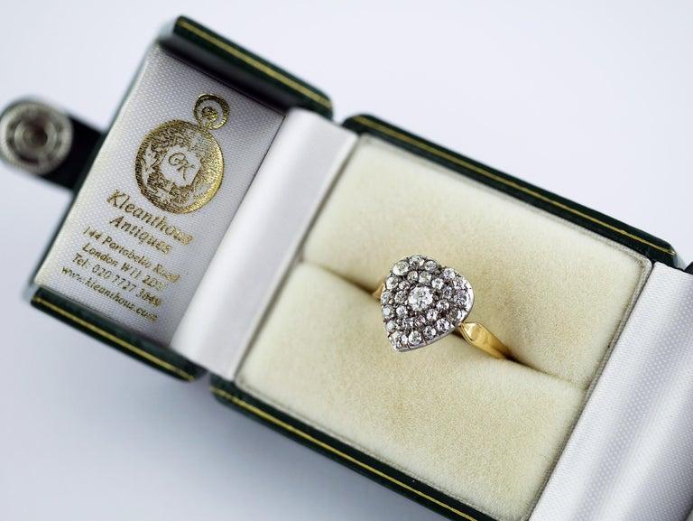 Victorian Diamond Heart Ring, circa 1870 For Sale 3