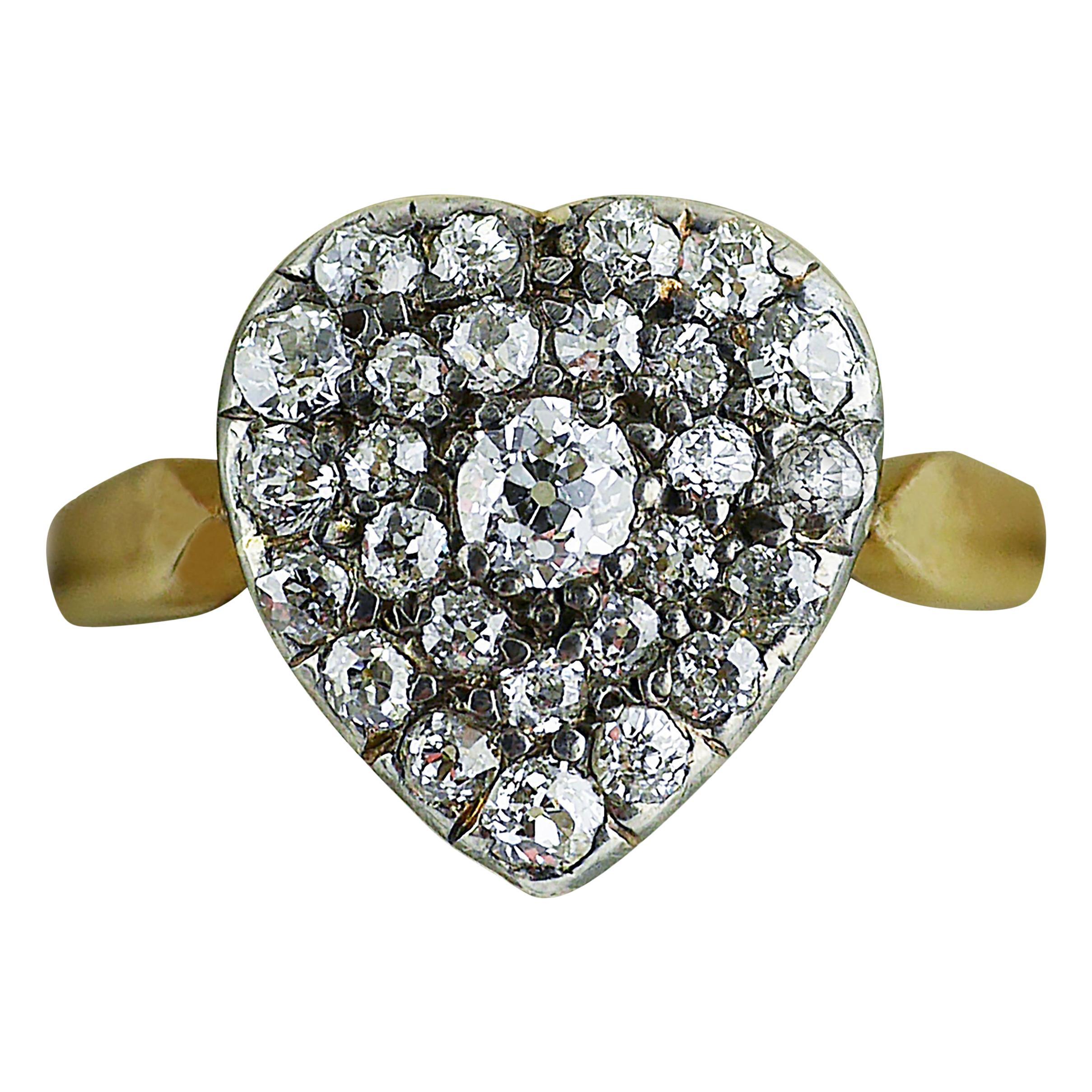 Victorian Diamond Heart Ring, circa 1870