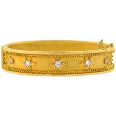 Victorian Diamond Hinged Gold Bangle Bracelet with Star Motif