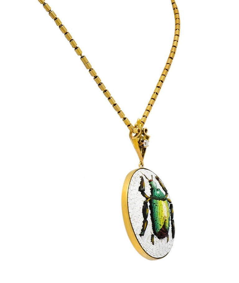 Victorian Diamond Micromosiac 14 Karat Gold Beetle Pendant Necklace In Excellent Condition For Sale In Philadelphia, PA