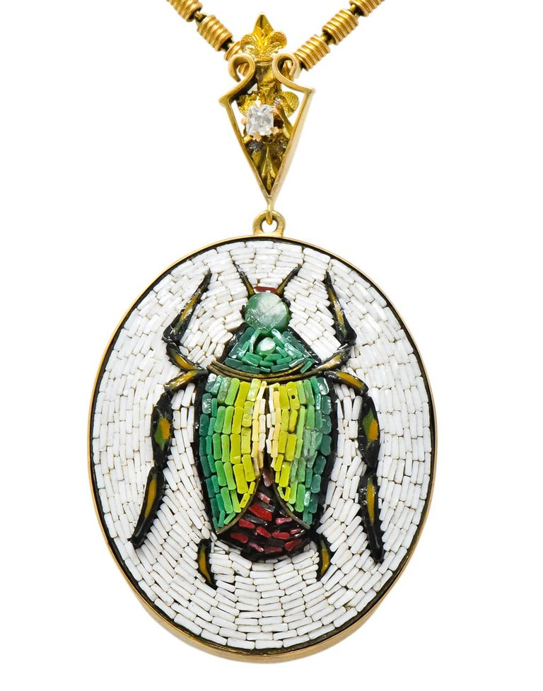 Women's or Men's Victorian Diamond Micromosiac 14 Karat Gold Beetle Pendant Necklace For Sale