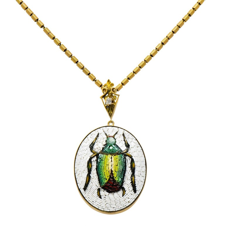 Victorian Diamond Micromosiac 14 Karat Gold Beetle Pendant Necklace For Sale 4