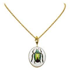 Victorian Diamond Micromosiac 14 Karat Gold Beetle Pendant Necklace